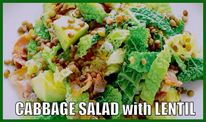 lentil cabbage healthy salad recipe