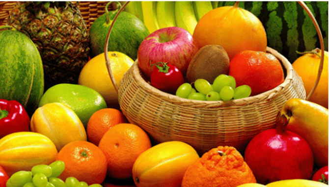 Water content of Fruits and vegetables