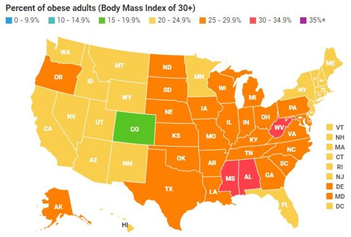 Percent of obesity in America