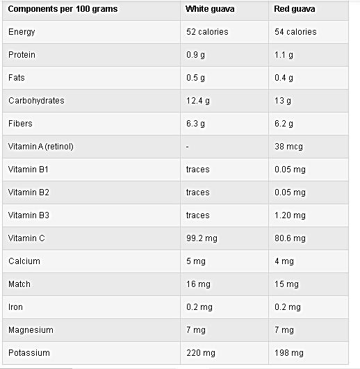 Ingredients of Guava Fruit