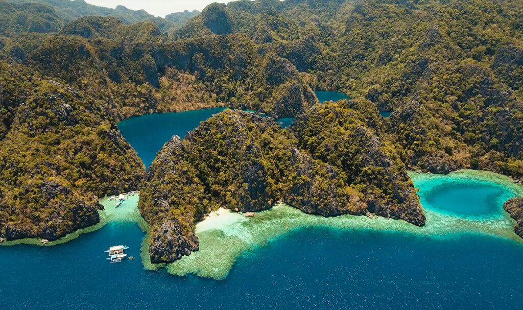 aerial shot barracuda lake philippines