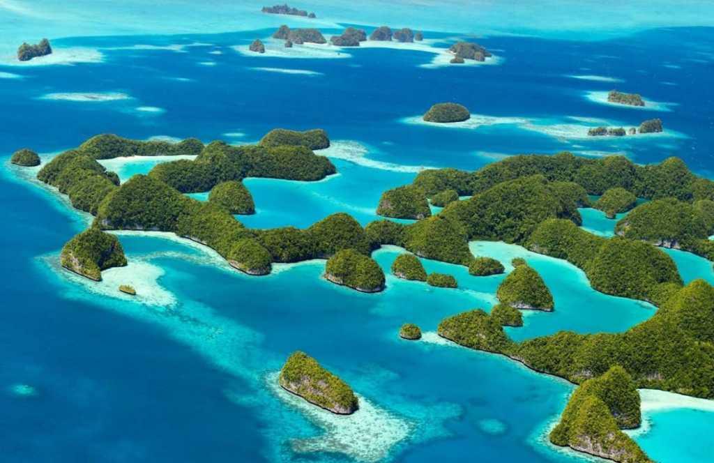 aerial shot of palau micronesia