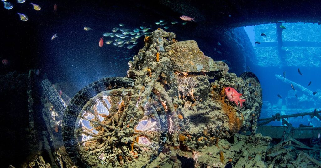 motorcycle underwater at the thistlegorm wreck egypt